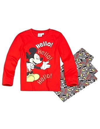 Mickey Mouse - Pijama Dos Piezas - para niño Rojo/Gris 4 años
