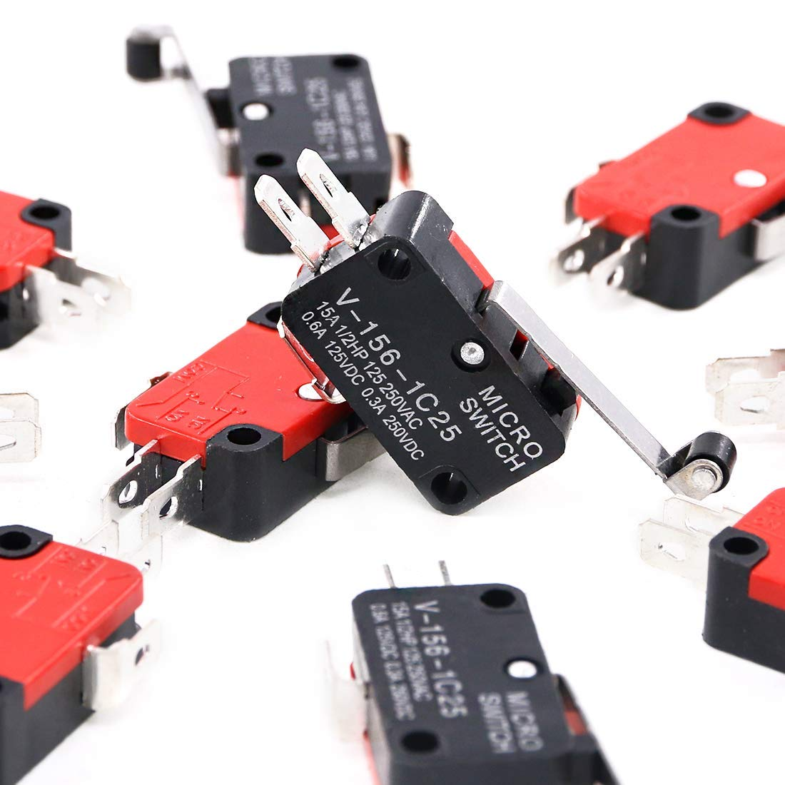 156 CESFONJER Micro switch limit v 1C25 Longue Charniere Levier a Galet Bras SPDT action snap lOT 8PCS