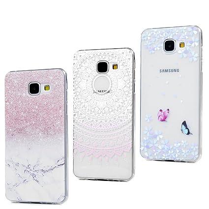 3x Funda para Samsung Galaxy A3(2016), Carcasa Silicona Gel Case Ultra Delgado TPU Goma Flexible Cover para Samsung Galaxy A3(2016) - Mármol + Totem ...