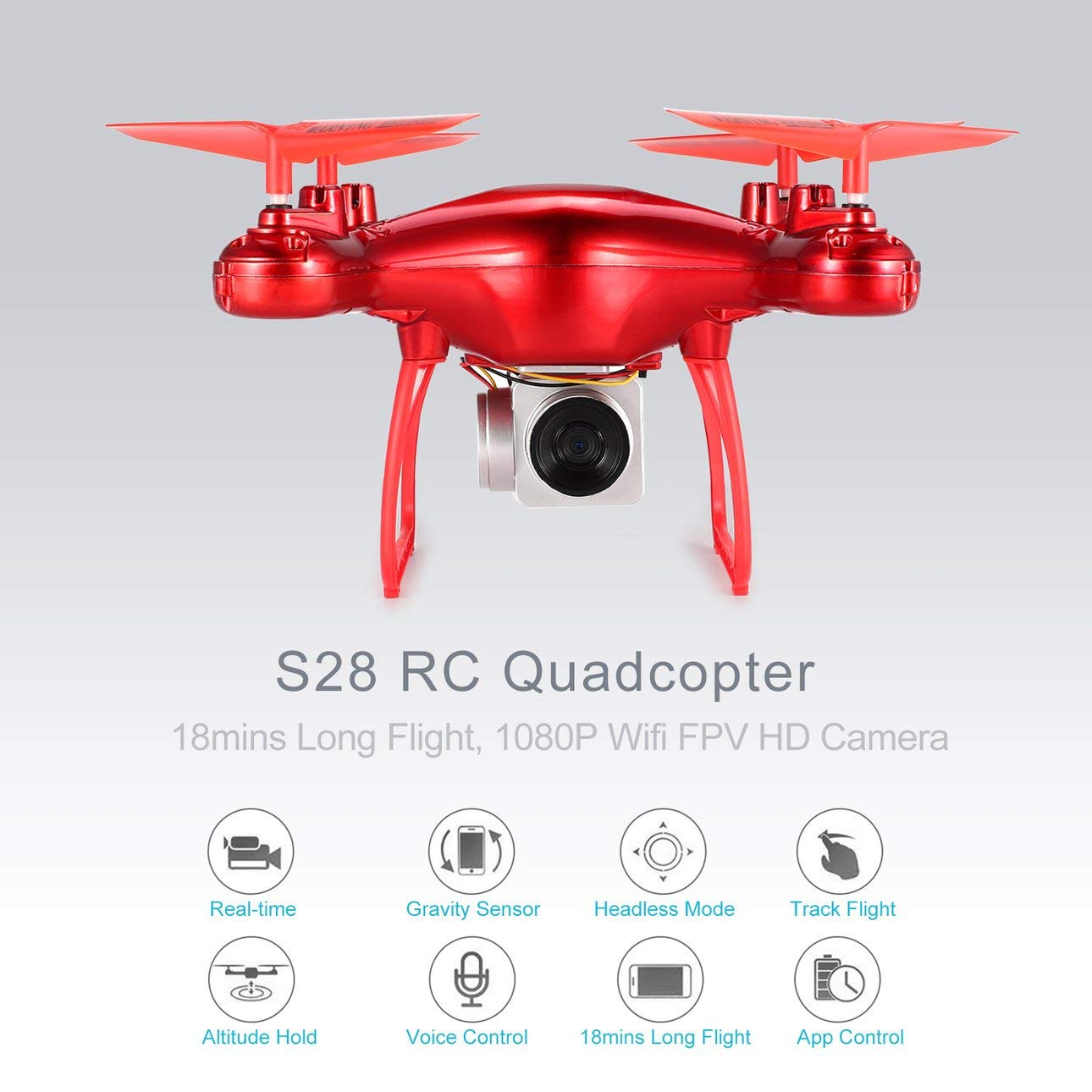 Ballylelly S28 RC Drone 2,4G Quadcopter 1080P Wifi FPV Kamera 18min Lange Flughöhe rot