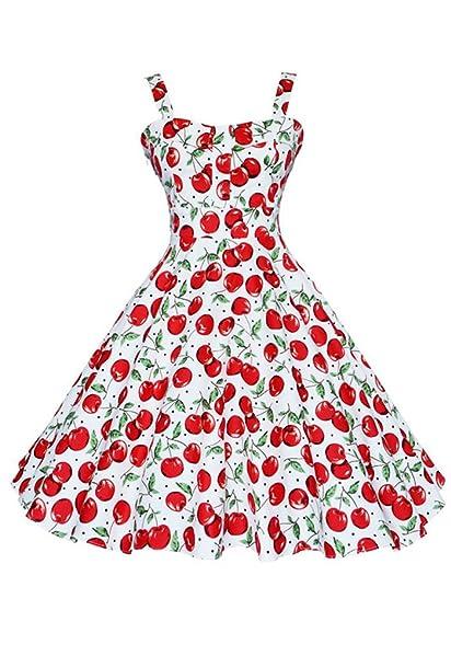 Botomi Womens Vintage 50s Hepburn Classique Cherry Pattern Swing Brace Dress