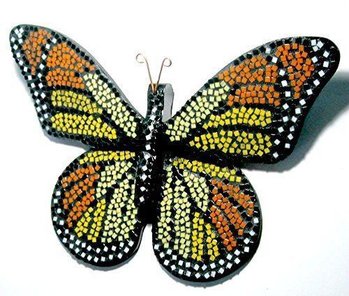 Mosaic Butterfly, Mixed Media Wall Decor, Red Orange Mosaic Butterfly Art, Mosaic Wall Art, Monarch Mosaic Butterfly Wall Hanging (Butterfly Wall Mosaic Art)