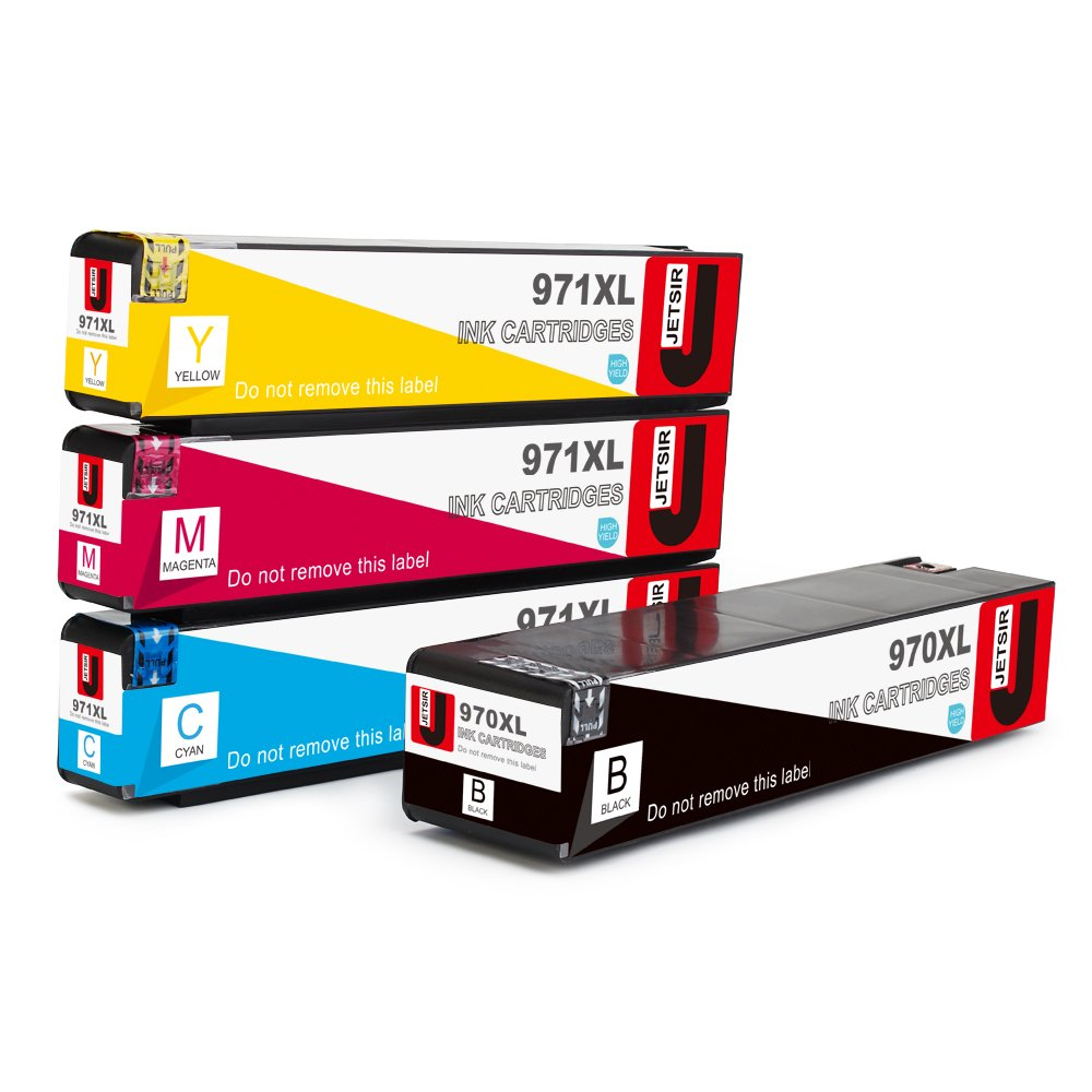 JetSir Compatible HP 970xl 971XL Ink Cartridges High Yield (1 Black 1 Cyan 1 Magenta 1 Yellow), Work on HP Officejet Pro X576dw X476dw X476dn X451dw X551dw X451dn Printer