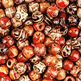 JPSOR 300pcs 12mm Painted Pattern Barrel Beads Wooden Beads Mixed Wood Loose Beads for Jewelry Marking