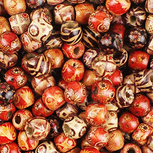 JPSOR 300pcs 12mm Painted Pattern Barrel Beads Wooden Beads Mixed Wood Loose Beads for Jewelry -