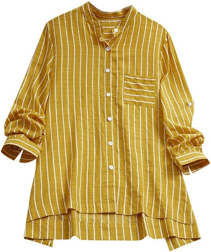 Wyxhkj Camisas Mujer Tallas Grandes De Manga Larga Blusas Irregulares Rayas Verticales Algodón Y Lino Camiseta Larga Casual Botón Túnica Blusa: Amazon.es: Ropa y accesorios