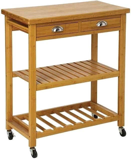 Mesa de cocina con ruedas, dos cajones y dos baldas de bambú ...