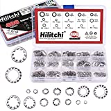 Hilitchi 400-Pcs 304 Stainless Steel External Internal Tooth Star Lock Washers Assortment Kit - Included: M2 M3 M4 M5 M6 M8 M10 M12