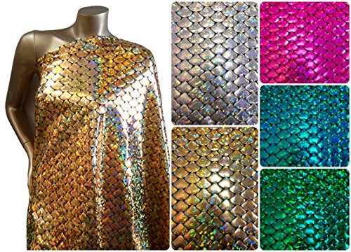 Shiny Holographic Foil Mermaid Scales Pattern on Black Stretch Nylon Spandex Shiny Tricot Fabric By the Yard (Gold) - Fish Costume Pattern