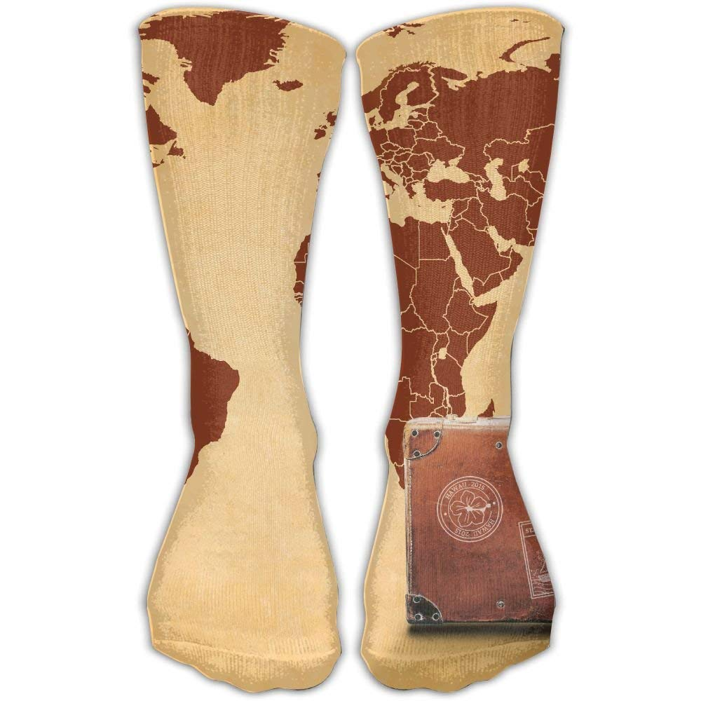 Wfispiy Map Of The World Women's Cool Knee High Socks