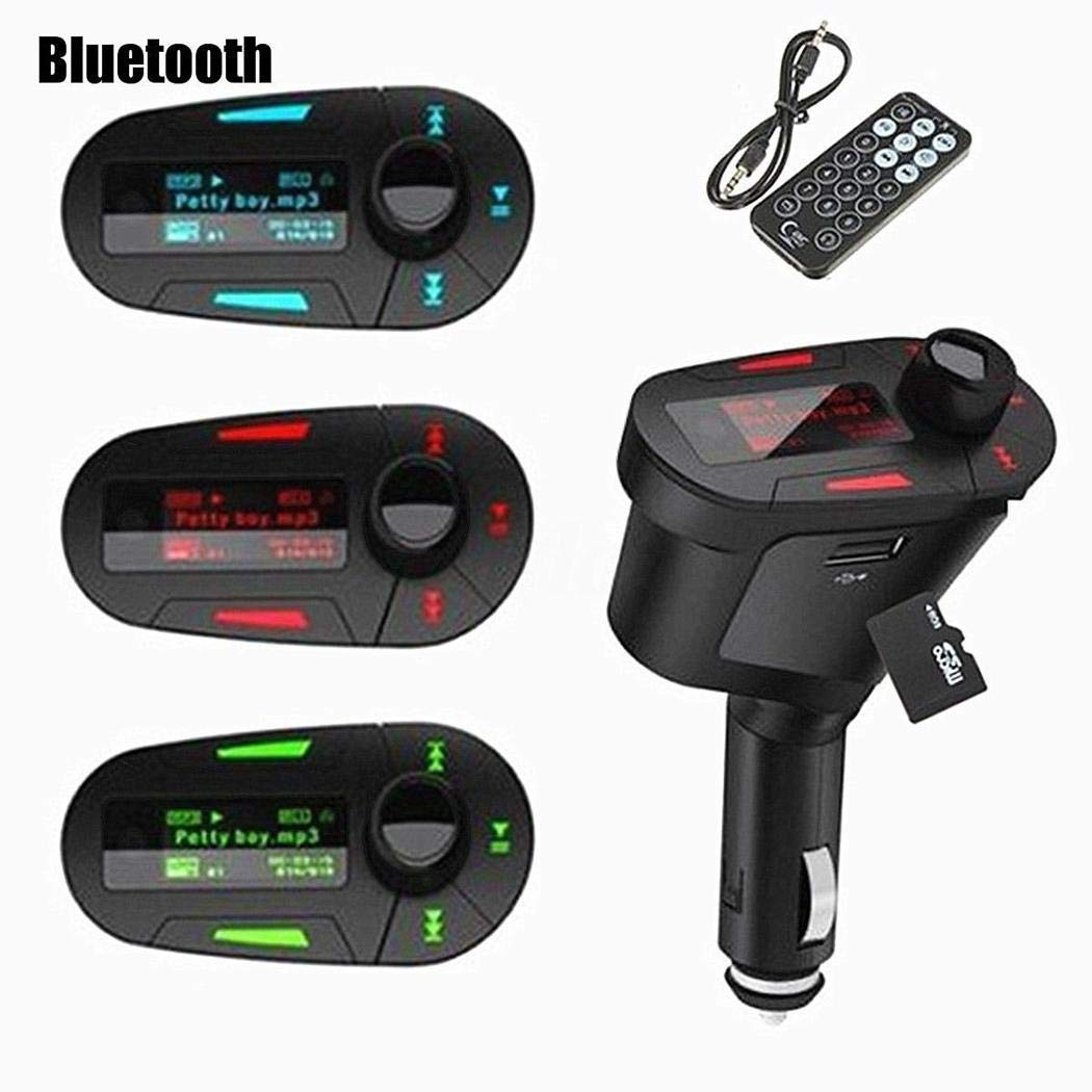 Loveje Bluetooth FM Transmitter, FM Radio MP3 Player Adapter for Car Hands Free Kit LCD Display FM Wireless Transmitter for MP3 Player for Automobile (Black)
