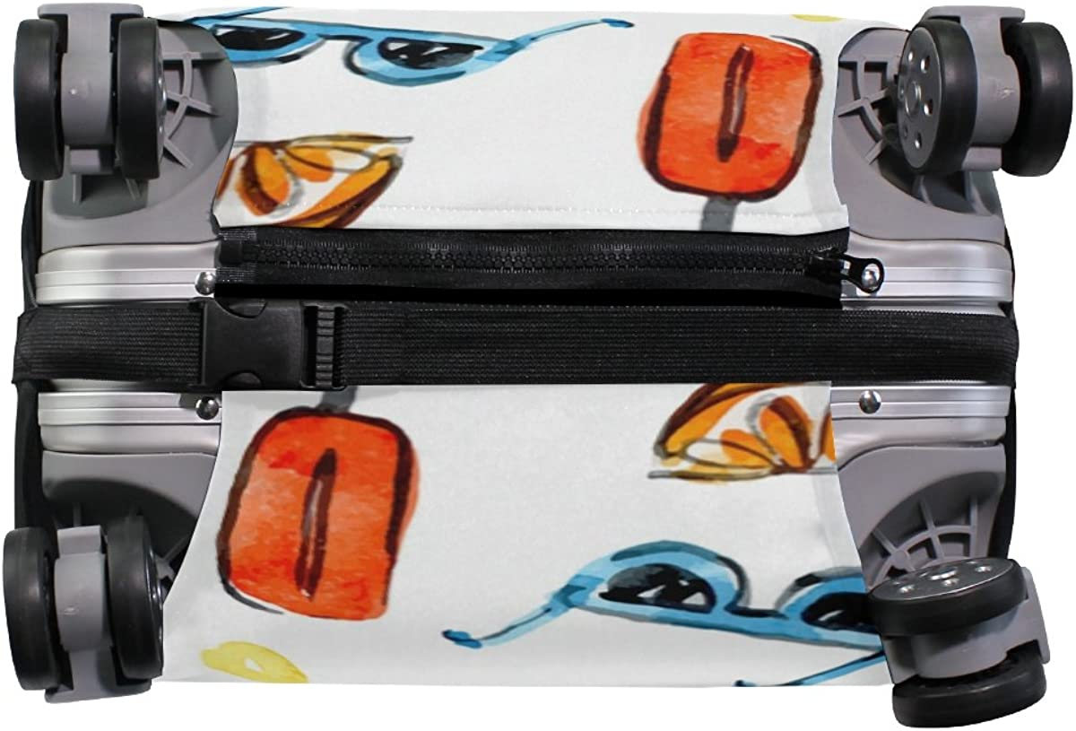 Elastic Travel Luggage Cover Watercolor Summer Items Suitcase Protector for 18-20 Inch Luggage