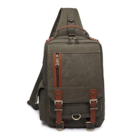 b3c00d7fb7 KAUKKO Canvas Sling Cross Body Laptop Messenger Bag Travel Outdoor Messenger  Shoulder Bag. Roll over image to zoom in