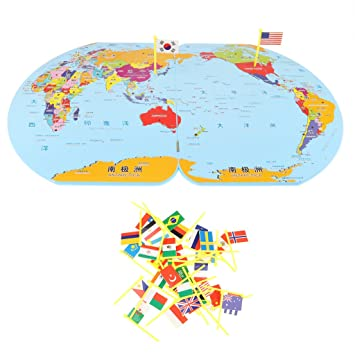 Baoblaze kids wooden world map flag matching toy jigsaw puzzle baoblaze kids wooden world map flag matching toy jigsaw puzzle preschool educational toy gift for gumiabroncs Image collections