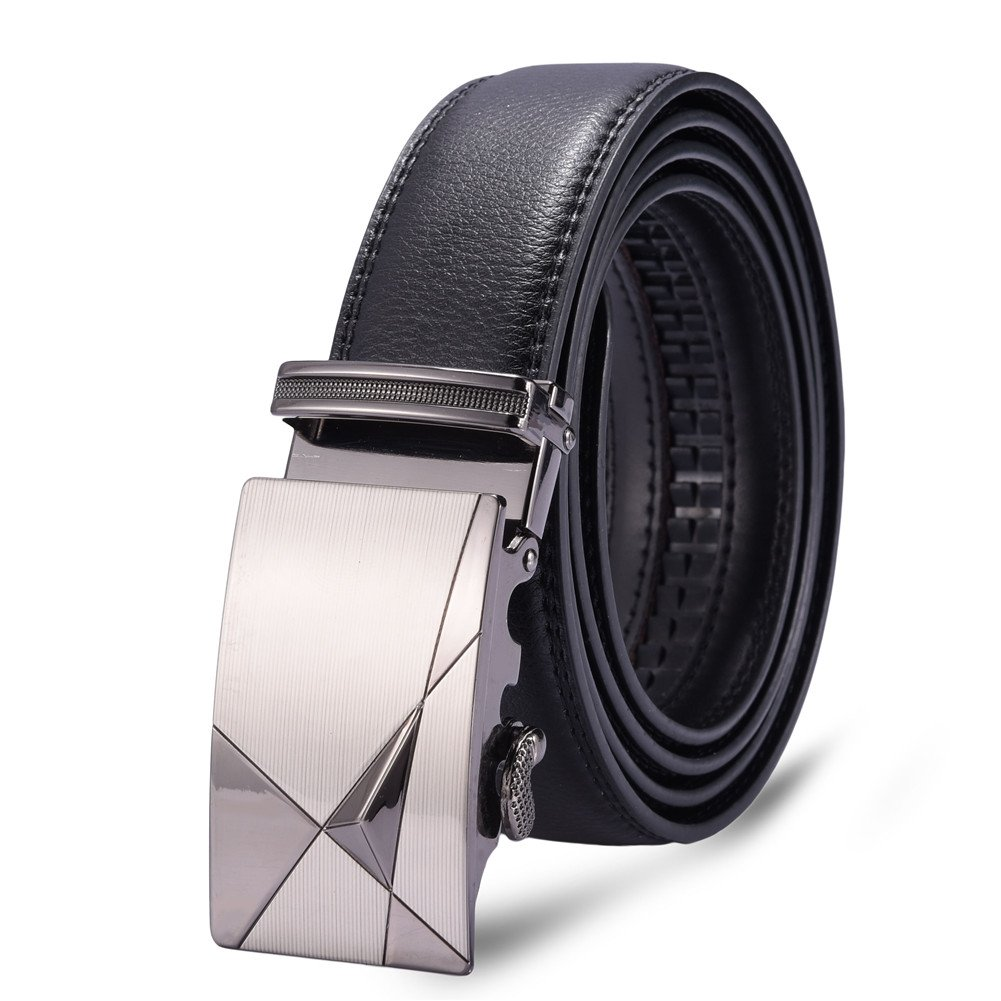 Mens Automatic Buckle Leisure Business Style Adjustable Waistband Leather Belt Trousers Belt in Black