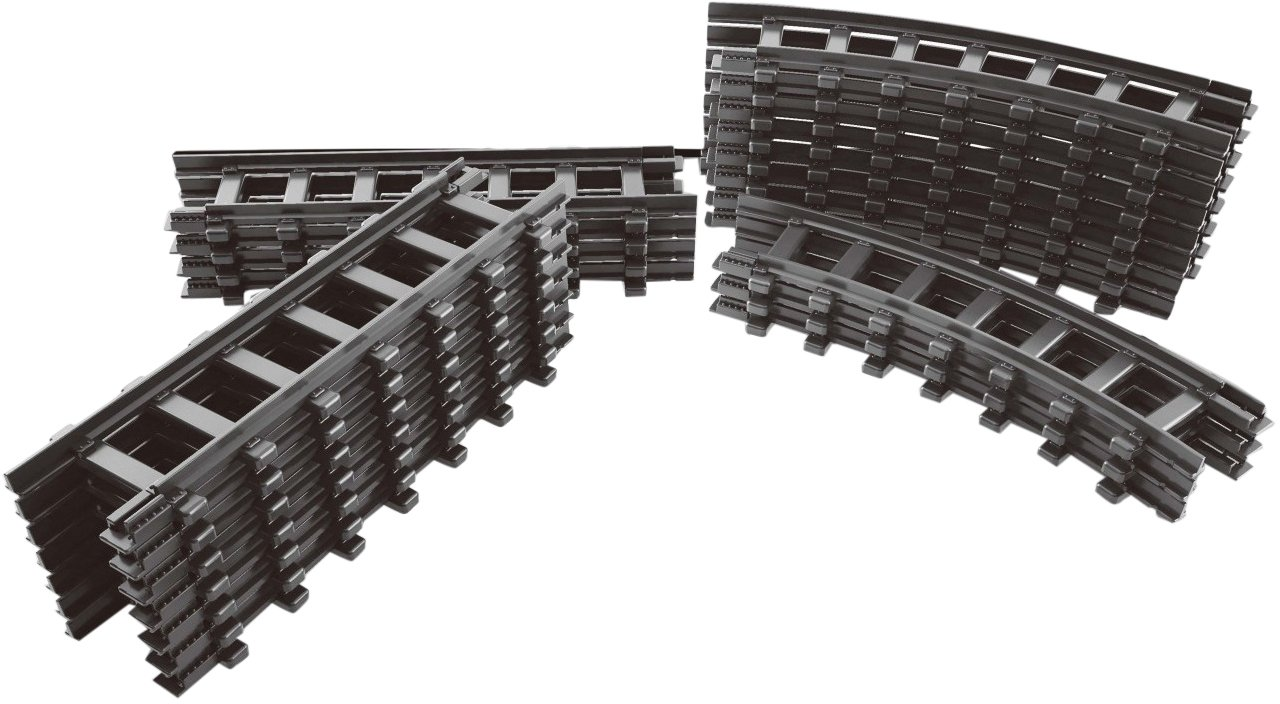 Sluban Building and Construction Blocks M38-B0358 12 Sections of Straight 12 Curved Train Tracks Building Block Construction Set 24 Piece