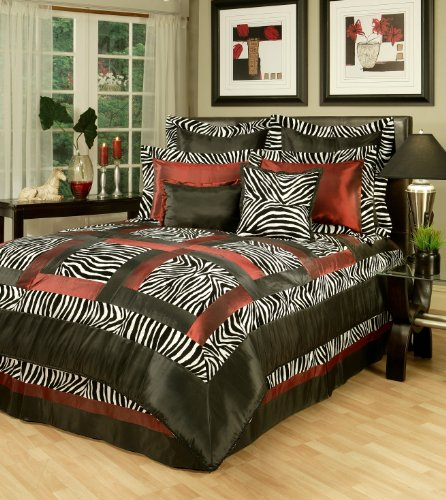 Pattern Kline Sherry (Sherry Kline Jungle Passage Zebra Comforter Set, King,Black/White, 8 Piece)