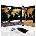 Scratch Off World Map Poster   Travel Tracker Map   With Country Flags   Amazing Travels Gift   Includes Scratcher and Memory Stickers