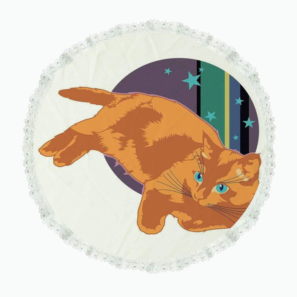 iPrint 36インチ ラウンド ポリエステル リネン テーブルクロス 猫 キュート カートゥーン 猫 練習 ヨガ グリーン 背景 瞑想 健康 リビング装飾 グリーン オレンジ イエロー ディナーキッチン ホームデコレーション Round 36