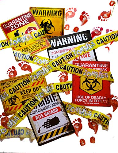 Zombies Mega Survival Invasion Decoration Supplies Kit with Large Posters, Bloody Floor Clings and Zombie Caution Tape for a Birthday or Halloween Party (24 pc set)