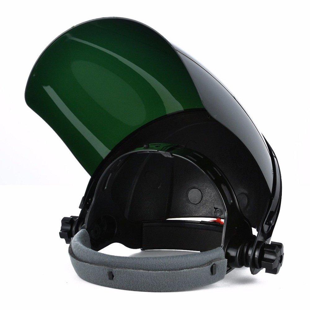 Ginode Full Face Grinding Shield with Ratchet Head Gear Visor Screen Mask Helmet Clear Polycarbonate Anti-Fog/Hardcoat Visor Eye Protection Cover Black ARC Weld Welder Lens