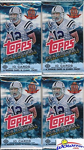 2015 Topps NFL Football Lot of FOUR(4) Factory Sealed HOBBY Packs with 40 Cards! Brand New! Loaded with Cool Inserts & New Rookie Cards! Look for Autograph and Relic Cards! Topps 60th Anniversary Set!