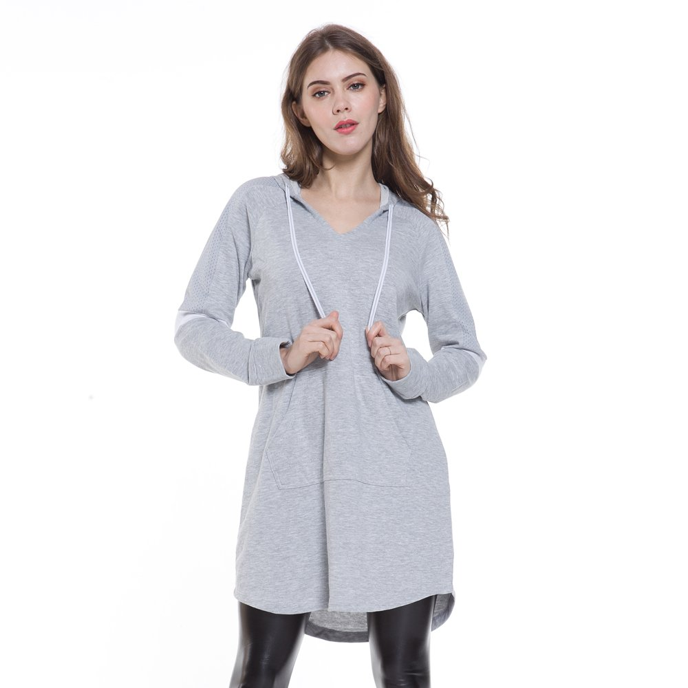 Eworldwing Spring Woman Mesh Sleeves Hoodies Dress V Neck Casual Arc Hem Cotton Sweatshirt (Gray, XXL)