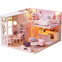 Fsolis DIY Dollhouse Miniature Kit with Furniture, 3D Wooden Miniature House with Dust Cover and Music Movement, Miniature Dolls House kit (L22)
