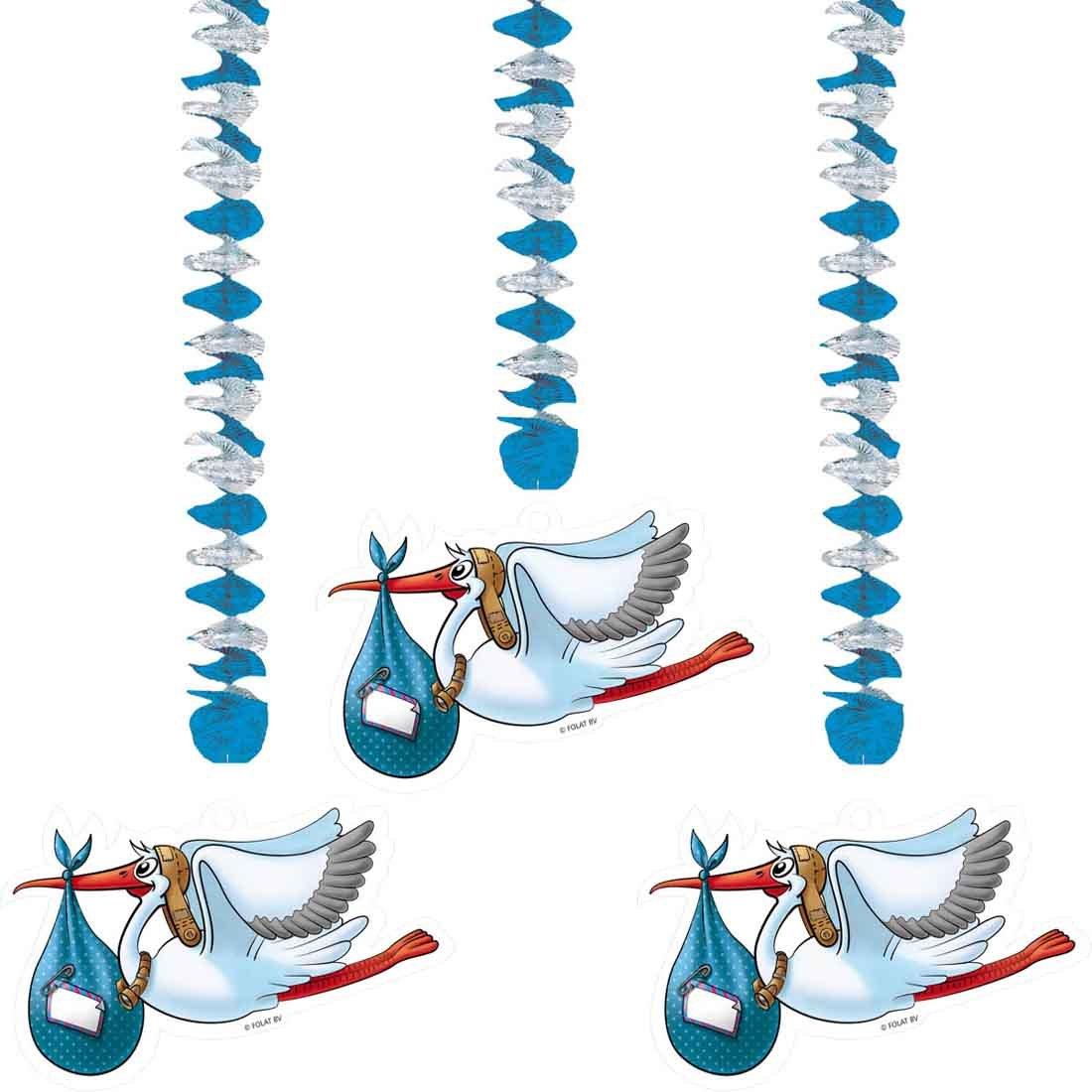 Amakando Deko Spiralen Storch - 3tlg - Klapperstorch Wirbel Neugeborene Babyparty Dekoration Deckenhä nger Pullerparty Hä ngedekoration Pinkelparty Hä ngedeko Geburt Junge