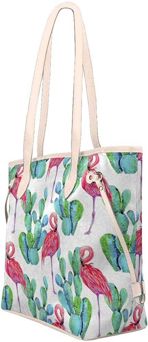 InterestPrint Women Shoulder Tote Bag Waterproof?Travel Weekender Overnight Carry-on Bag Pink Flamingos and Cactus