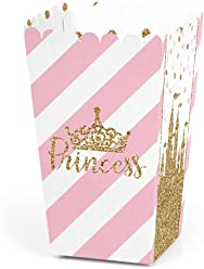 Little Princess Crown - Pink and Gold Princess Baby Shower or Birthday Party Favor Popcorn Treat Boxes - Set of 12