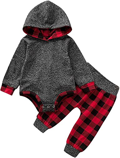 2Pcs Toddler Kids Baby Girl Boy Hooded Plaid Vest Tops Pants Outfits Set Clothes