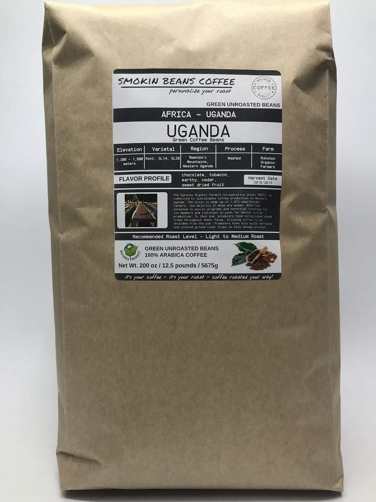 12.5 Pounds - Northern Africa - Uganda - Unroasted Arabica Green Coffee Beans - Grown Region Rwenzori - Altitude 1200-1500M - Bukonzo Organic Farmers - Drying/Milling Process Washed by Smokin Beans