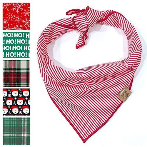 (Bark.Bark.Goose. Small Christmas Dog Bandana in Red and White Candy Cane Stripes )