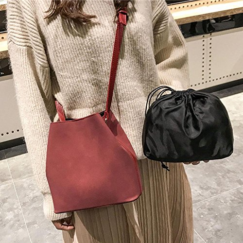 PU Tote Bags Widewing 2pcs Bags Shoulder Bucket Crossbody Composite Set Scrub Red Women wxzqBI0