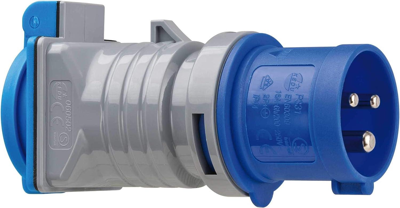 Brennenstuhl 1080990 Adapter Schutzkontakt 230V/CEE 16A IP44, grau blau Hugo Brennenstuhl GmbH & Co KG