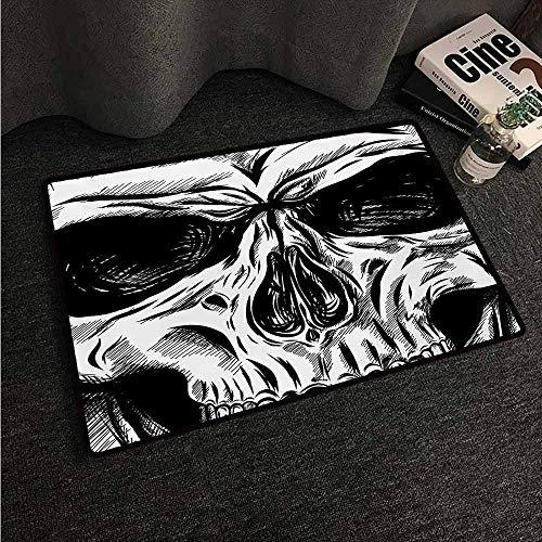 HCCJLCKS Front Door Mat Large Outdoor Indoor Halloween Gothic Dead Skull Face Close Up Sketch Evil Anatomy Skeleton Artsy Illustration Easy to Clean Carpet W16 xL24 Black White -