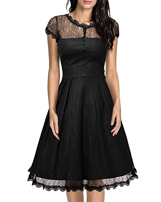 Encaje Vestido Mujer Vintage Manga Corta Cóctel Fiesta Vestido Negro 2XL
