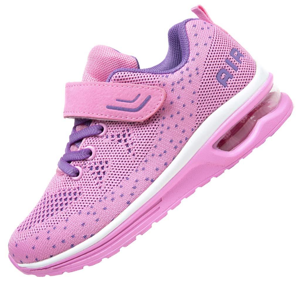 JARLIF Kids Athletic Tennis Running Shoes Breathable Sport Air Gym Jogging Sneakers for Boys & Girls (4 M US Big Kid,Pink)