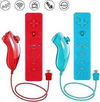 Lactivx - Mando a distancia Nunchuck y Wii con funda de silicona y correa compatible con consola Wii Wii U (rojo y azul): Amazon.es: Electrónica