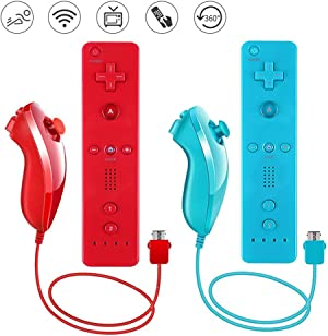 Lactivx Nunchuck and Wii Remote Controller with Silicone Case and Strap Compatible with Wii Wii U (Red and Blue)