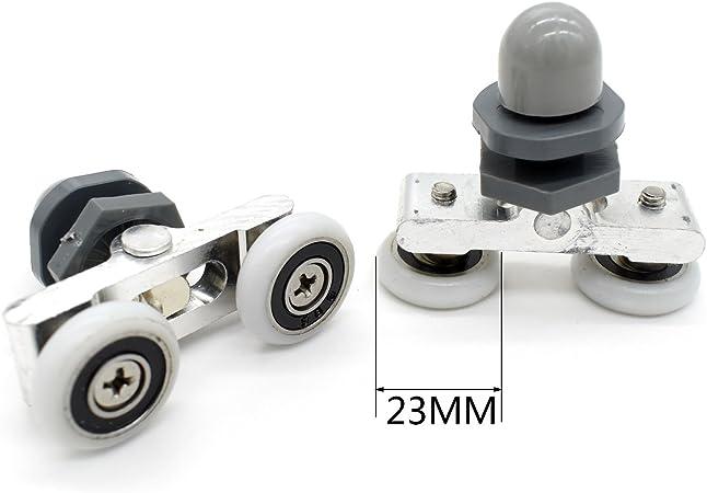 Juego de 8 ruedas dobles para puerta de ducha, 23 mm de diámetro: Amazon.es: Bricolaje y herramientas