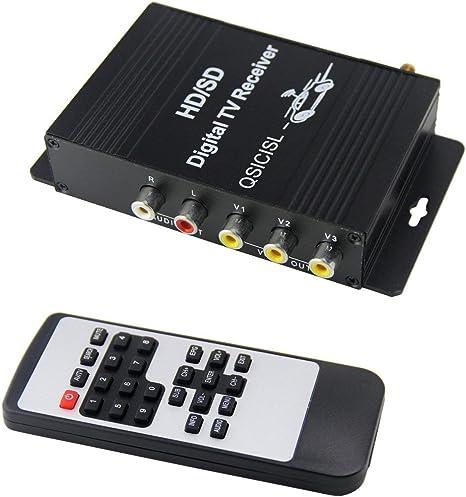 QSICISL HD sintonizador de TV móvil para Coche ISDB-T ATSC Digital 4 Receptor de Salida de vídeo con Antena: Amazon.es: Electrónica