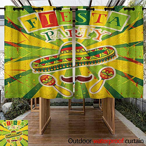- AndyTours Outdoor Curtain Panel for Patio,Fiesta,Sprites with Sombrero Maracas Mustache Mexican Hand Drawn Illustration,for Porch&Beach&Patio,K160C115 Green Yellow Vermilion