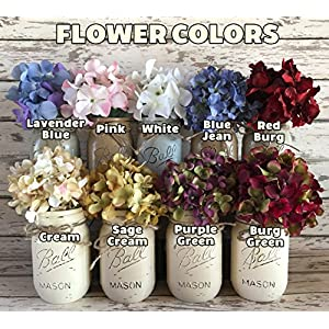 HYDRANGEA or GERBERA DAISY FLOWER to accessorize with our Handmade Mason Pint JARS in a Distressed Wood Drawer or Tray *Make a beautiful CENTERPIECE with Silk Flower Stems -white, cream, red, green 79