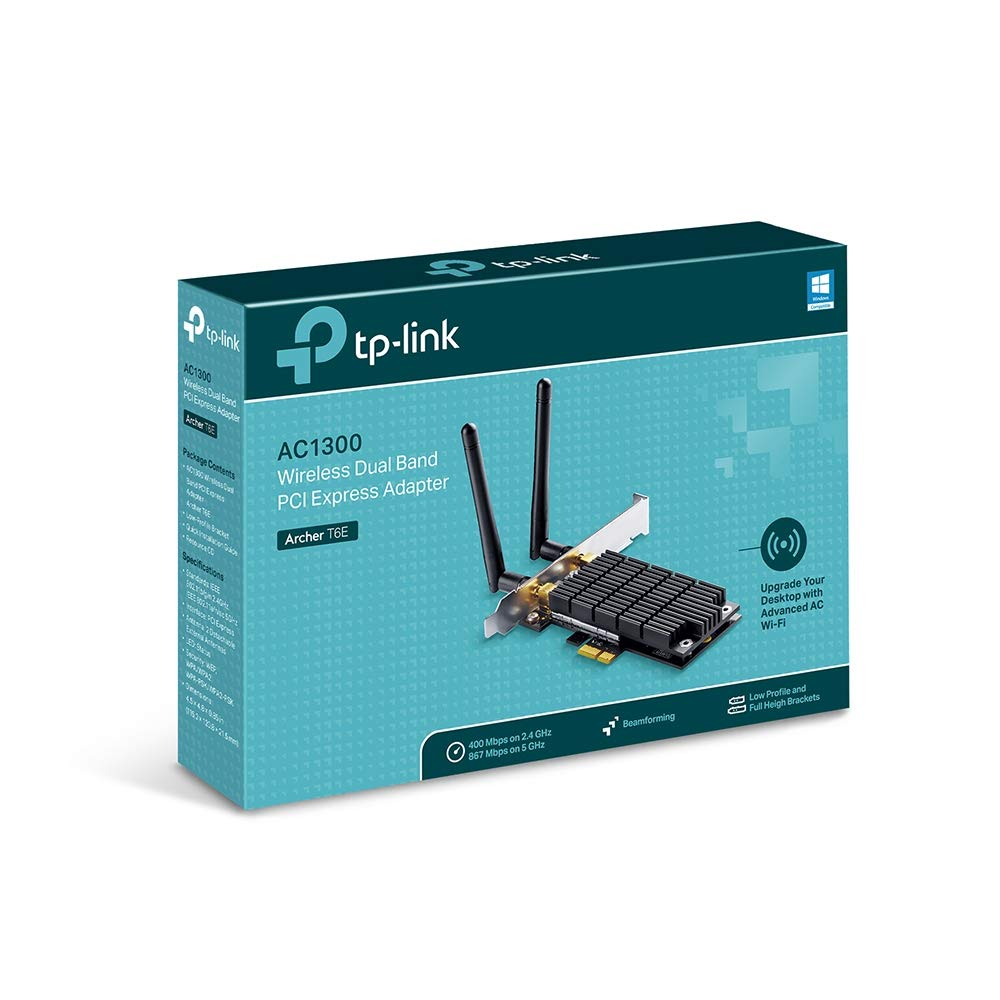 TP-Link Archer T6E - Adaptador PCI Express, inalámbrico, de doble banda, AC 1300 (867 Mbps en 5 GHz, 400 Mbps en 2,4 GHz, sistema operativo Windows ...