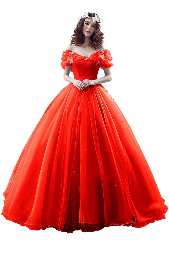 Avril Dress Cinderella Butterfly Ball Wedding Prom Quinceanera Gown for Girls-2-Red