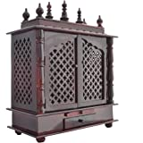 Homecrafts Handpainted Wooden Home Temple With Doors, Rajasthani Art