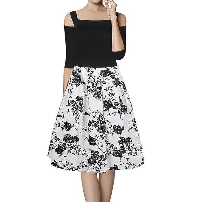 Amazon.com: huada Mujer Verano Impresión floral halter 1950s ...