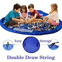 Children Play Mat BigNoseDeer Foldable baby Toy Storage Bag Kids Rug Child Toy Organizer 60 inch (150cm) (Blue)